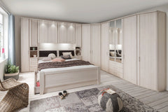 Luxor 4 Overbed Unit With 33cm Wood Doors Angled Open Compartment  overbed wardrobe- Blue Ocean Interiors