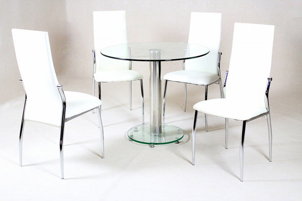 Heartlands FurnitureAlonza Dining Table in Clear Glass With 4 ChairsBlue Ocean Interiors