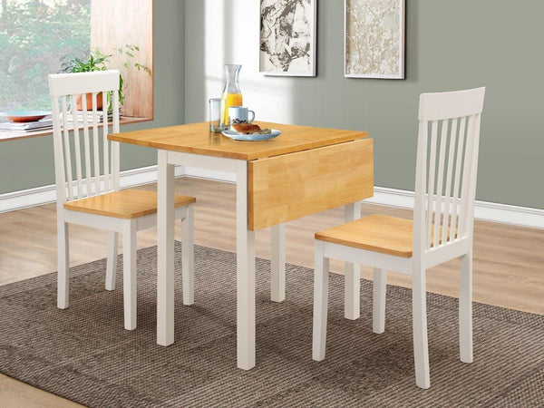 Heartlands FurnitureAtlas White Drop Leaf Dining Table and 2 ChairsBlue Ocean Interiors