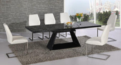 Italia Extending Black Glass Dining Table with 6 White Chairs  glass dining tables and chairs- Blue Ocean Interiors