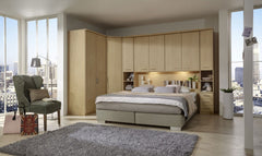 Luxor 4 Overbed Unit With 50cm Wood Doors Open Side Elements and Drawers  overbed wardrobe- Blue Ocean Interiors