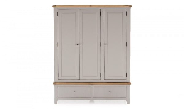 Vida LivingClemence 3 Door Wardrobe Oak and Grey Painted FinishBlue Ocean Interiors