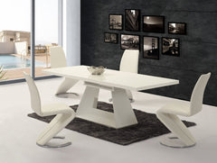 Italia Extending White Glass Dining Table with 6 Lucia Chairs  glass dining tables and chairs- Blue Ocean Interiors