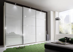 Miami 2 Sliding Door Wardrobe White Glass Doors and 4 Sections  sliding door wardrobe- Blue Ocean Interiors