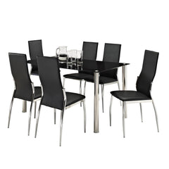 Rome Black Glass Dining Table 6 Seater Set  glass dining tables and chairs- Blue Ocean Interiors