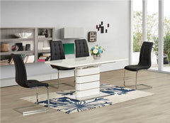 Vera White Glass Extending Dining Table with 4 Enzo Chairs  glass dining tables and chairs- Blue Ocean Interiors