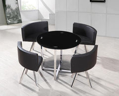Spectrum Round Black Glass Dining Table With 4 Chairs  glass dining tables and chairs- Blue Ocean Interiors