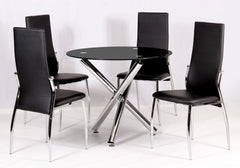 Heartlands FurnitureCalder Dining Table in Round Black Glass With 4 ChairsBlue Ocean Interiors