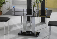 Trinity Large Dining Table in Black Glass  glass dining table- Blue Ocean Interiors