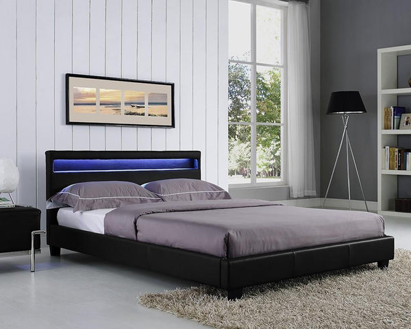 TGC FurnitureCanis Double Faux Leather Bed with Integrated LED Headboard LightBlue Ocean Interiors