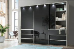 Malibu Sliding Door Wardrobe with Drawers 300cm Wide  sliding door wardrobe- Blue Ocean Interiors