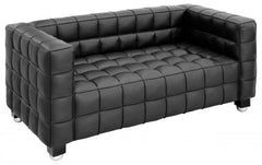 Hoffman Style 2 Seater Sofa in Black PU  leather sofa- Blue Ocean Interiors