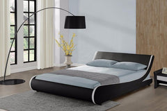 Stripes Curve Double Faux Leather Bed  leather bed- Blue Ocean Interiors