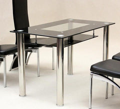 Vegas Black Glass Small Dining Table  glass dining table- Blue Ocean Interiors