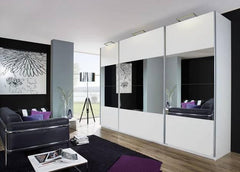 RauchBeluga Plus 3 Door Sliding Wardrobe With High Polish Doors Centre Mirror StripeBlue Ocean Interiors
