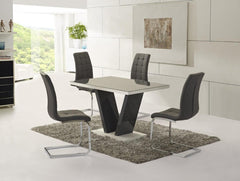 Zara Large Grey Glass Dining Table with 4 Enzo Chairs  glass dining tables and chairs- Blue Ocean Interiors