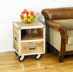 Roadie Chic Lamp Table / Bedside Table (with one drawer)  bedside table- Blue Ocean Interiors