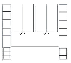 Luxor 4 Overbed Unit With 33cm Open Side Elements and Drawers  overbed wardrobe- Blue Ocean Interiors