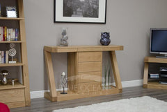 Z Oak Designer Wide Console Table With Drawers  console table- Blue Ocean Interiors