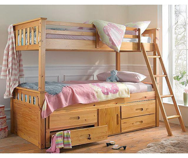 Heartlands FurnitureCaptain 3'0'' Single Bunk with Storage & Guest Bed in Pine FinishBlue Ocean Interiors