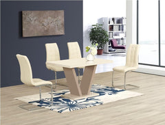 Zara Large Cream Glass Dining Table with 4 Enzo Chairs  glass dining tables and chairs- Blue Ocean Interiors