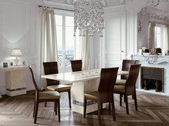 Vittoria 6' Marble Dining Table and Chairs  wood dining table and chairs- Blue Ocean Interiors