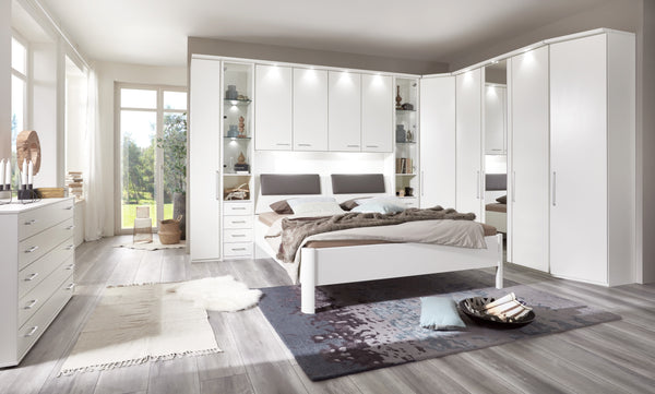WiemannAlmeria Overbed Unit in White Open Compartment and Glass DoorsBlue Ocean Interiors