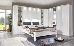 WiemannAlmeria Overbed Unit in White Open Compartment and Wood ShelvesBlue Ocean Interiors