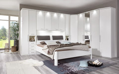 WiemannAlmeria Overbed Unit in White Open Compartment and Wood DoorsBlue Ocean Interiors