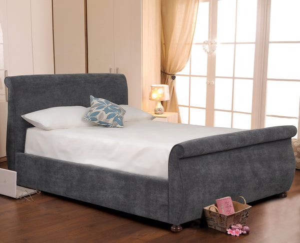 Adore Upholstered Fabric Bed in Crushed Velvet or Casino Crush Finish