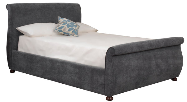 Adore Upholstered Fabric Bed in Faux Suede Leatherlook or Sumatra Plain Finish.