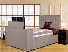 Image Sparkle 180cm TV Bed in Faux Suede or Sumatra Plain Finish