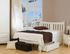 Kingfisher Wooden Bed in White Finish