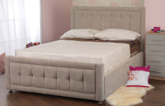 Passion Upholstered Fabric Bed in Faux Suede or Sumatra Plain Finish.