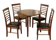 Hanover Dark Solid Hardwood Round Dropleaf Table with 4 Chairs