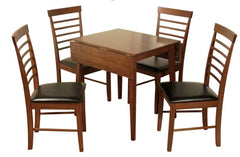Hanover Dark Solid Hardwood Square Dropleaf Table with 4 Chairs