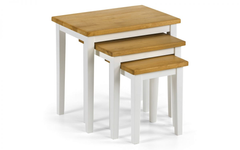 Cleo Nest of Tables in Two Tone White/Oak Finish