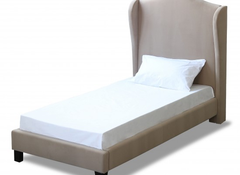 LPD FurnitureChateaux Single Wing Bed in Soft Beige Fabric FinishBlue Ocean Interiors