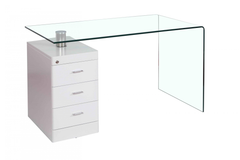 Hornet Glass Desk with 3 Drawers