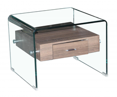 Angola Lamp Table in Clear Glass with Drawer