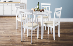 Coast White Dining Table with 4 Chairs