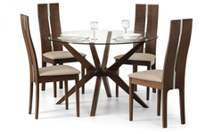 Julian BowenChelsea Glass Dining Table with 4 Cayman ChairsBlue Ocean Interiors