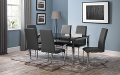 Tempo Dining Table Black Glass with 6 Roma Fabric Chairs