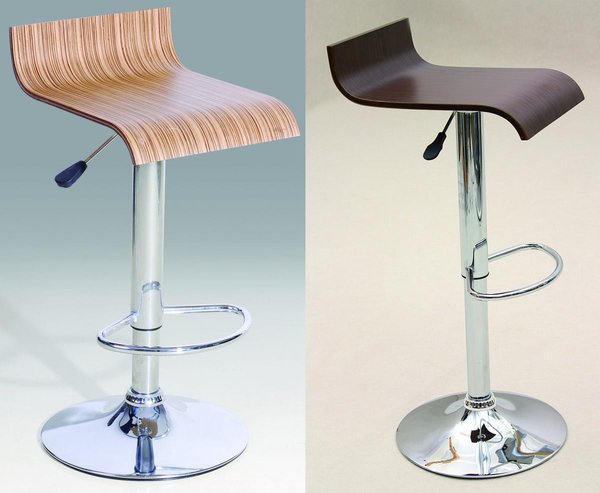 Heartlands FurnitureBar Stool Model 6 in Beech or Walnut and Chrome FinishBlue Ocean Interiors