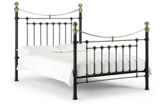 Victoria Metal Bed in Satin Black with Real Brass 150cm