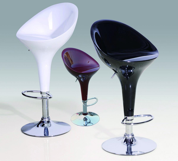 Bar Stool Model 2 in Black, Red or White and Chrome Finish