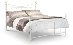 Rebecca 150cm Metal Bed in Stone White Finish