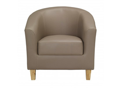 Tub Chair In Taupe Faux Leather