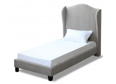 LPD FurnitureChateaux Single Wing Bed in Silver Fabric FinishBlue Ocean Interiors