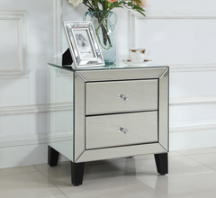 Heartlands FurnitureAugustina Mirrored 2 Drawer NightstandBlue Ocean Interiors